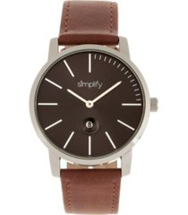 simplify quartz the 4700 black dial, genuine brown leather watch 40mm