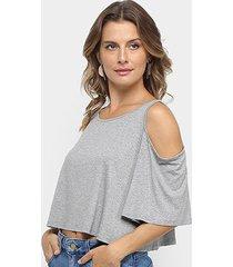 blusa cropped los wear open shoulder feminina