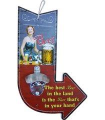 abridor de garrafa de madeira seta best beer kasa ideia