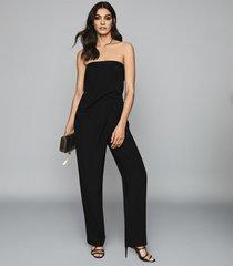 reiss toni - satin trimmed bandeau jumpsuit in black, womens, size 10