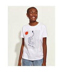 t-shirt feminina mindset obvious leopardo manga curta decote redondo branca