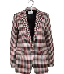 women's wool and cotton checked printed tailored jacket