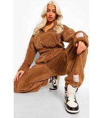 korte nepwollen sweater met label, brown