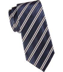 armani collezioni men's striped silk & cotton-blend tie - solid blue