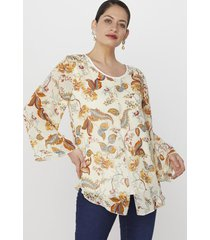 blusa doble corte ecru hojas corona