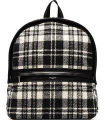 saint laurent camp check-pattern backpack - black
