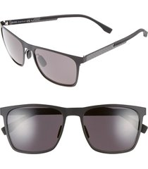 men's boss 57mm retro sunglasses - mt black/ gray