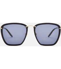 gucci men's square frame sunglasses - black/gold/grey