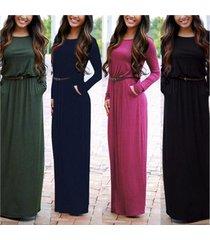 long sleeved round neck pocket maxi harvest waist dress with belt