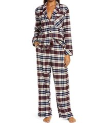 women's nordstrom flannel pajamas, size small - burgundy