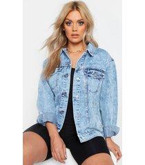 plus acid wash boyfriend jean jacket, blue
