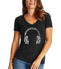 women's word art music note headphones v-neck t-shirt