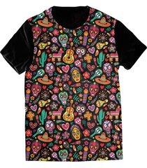 camiseta elephunk estampada méxico cultura mexicana preta - kanui