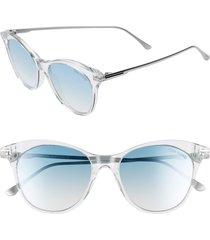 women's tom ford micaela 53mm cat eye sunglasses - crystal/ palladium/ grn silv
