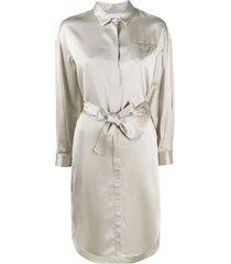 fabiana filippi belted shirt dress - neutrals