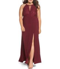 plus size women's morgan & co. sparkle lace trumpet gown, size 20w - red