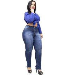 calça jeans plus size credencial cigarrete feminina