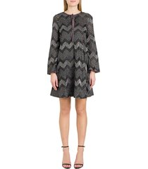 herringbone lurex a-line dress