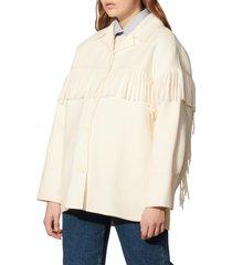 women's sandro fringed coat, size 10 us - beige