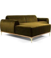 sofá 3 lugares com chaise base de madeira euro 245 cm veludo mostarda  gran belo