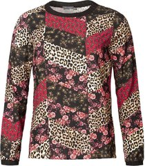 geisha top black/red comb longsleeves zwart