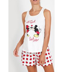 pyjama's / nachthemden admas pyjama shorts tank top love mouse disney ivoor