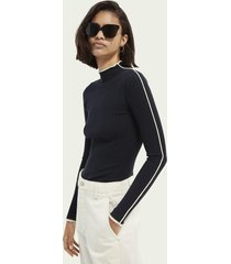 scotch & soda contrasting piping knitted sweater