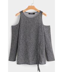 grey plain drawstring design cold shoulder long sleeves t-shirts