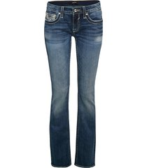vigoss women's chelsea embroidery bootcut jeans - medium wash - size 27 (3-4)