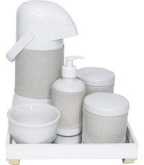 kit higiene espelho completo porcelanas, garrafa e capa dourado quarto beb㪠 - dourado - dafiti