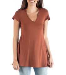 24seven comfort apparel women's short sleeve loose fit tunic top with v-neck