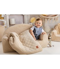 sofa kremowa pikowany velvet