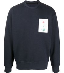 rag & bone floral-print crew neck sweatshirt - blue
