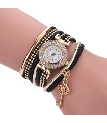 orologi da donna con cinturino in pelle a forma di ciondolo con strass