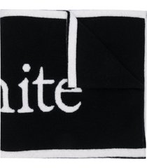black and white wool scarf