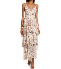 astr the label multi ruffle maxi dress, size x-small in yellow purple floral at nordstrom