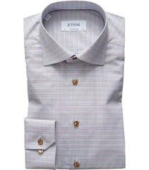eton overhemd contemporary fit geruit blauw bruin