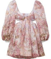 wild botanica open-back cutout floral-print linen and silk-blend mini dress
