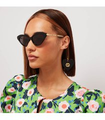 gucci women's cat eye acetate frames with charm sunglasses - black/gold/grey
