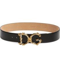 women's dolce & gabbana dg baroque buckle calfskin leather belt, size 85 - nero