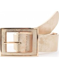 cinturon hebilla rectangular forrada oro mailea