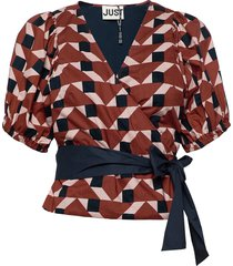 meghan wrap blouse blouses short-sleeved multi/patroon just female