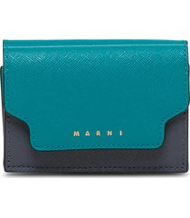 marni bicolor leather wallet with logo