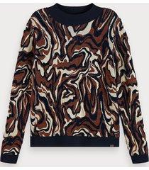 scotch & soda long sleeve cotton blend jacquard knit pullover