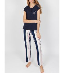 pyjama's / nachthemden admas summer stripes pyjamabroek t-shirt marine adma's