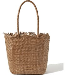 maya fringed woven leather tote