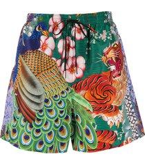 dsquared2 peacock print swim shorts - green