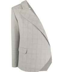 loulou one shoulder checked blazer - grey