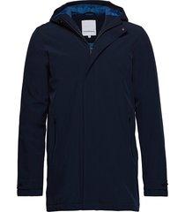 functional coat dunne lange jas blauw lindbergh