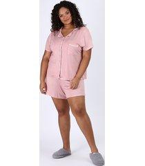 pijama feminino plus size camisa com vivo contrastante e bolso manga curta rosa